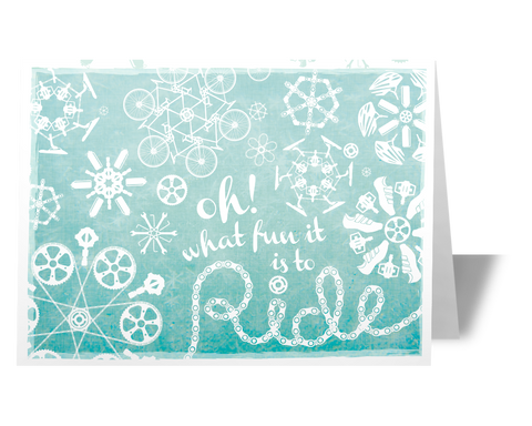 Cycling Snowflake Holiday Card