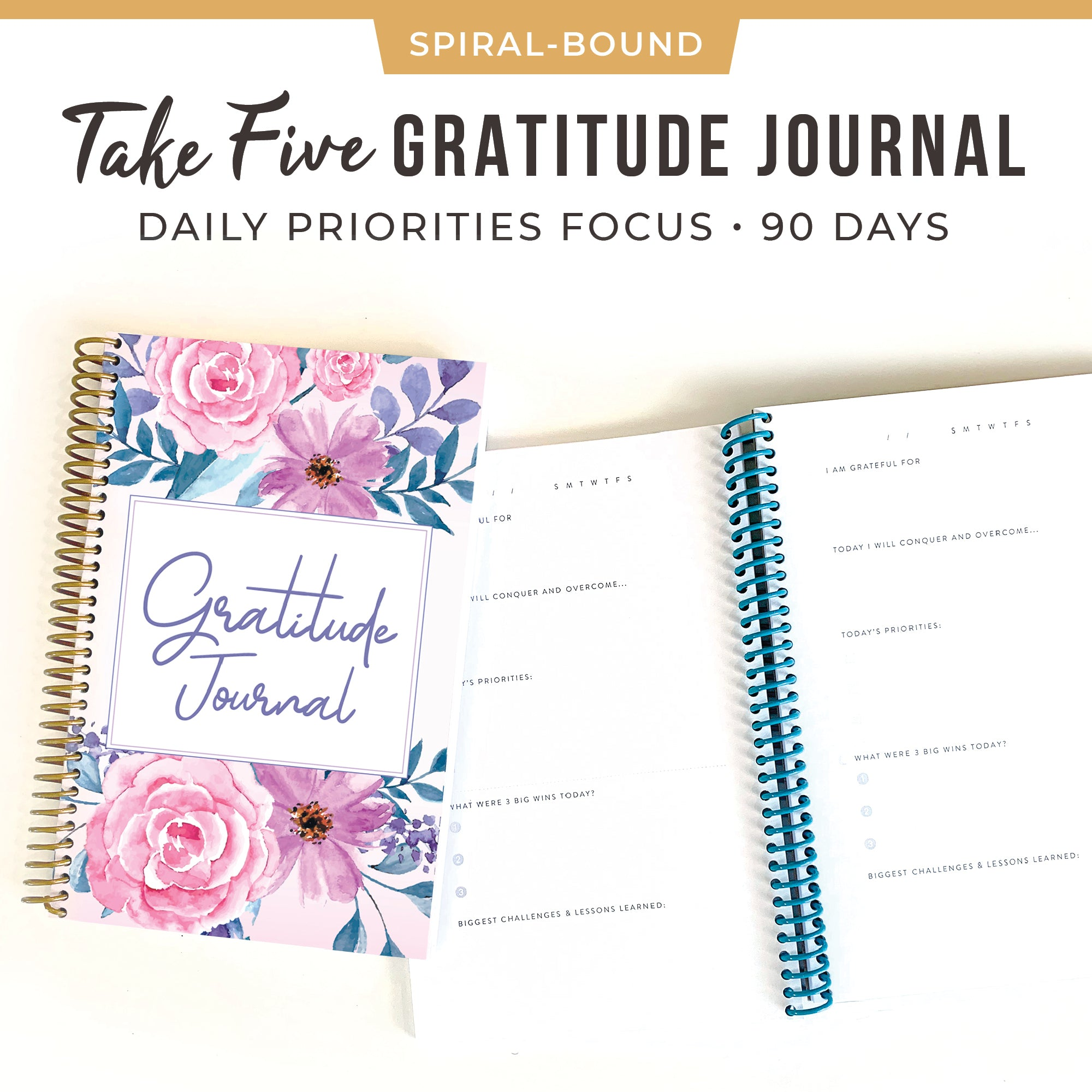 Five Minute Gratitude Journal 90 Days Notebook Floral
