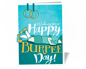 Happy Burpee Day Birthday Card for CrossFit Athletes Fitness Instructors Gyms