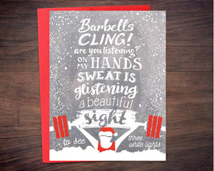 Chalking in a Winter Wonderland Weightlifters Holiday Card