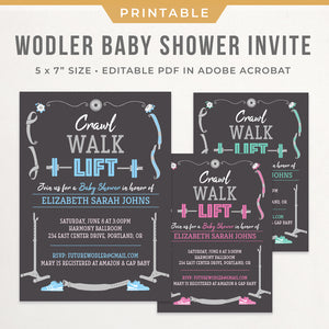 powerlifting weightlifting baby shower invitation template