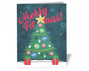CrossFit Fitness Trainer Christmas Card - Merry Fitmas Tree