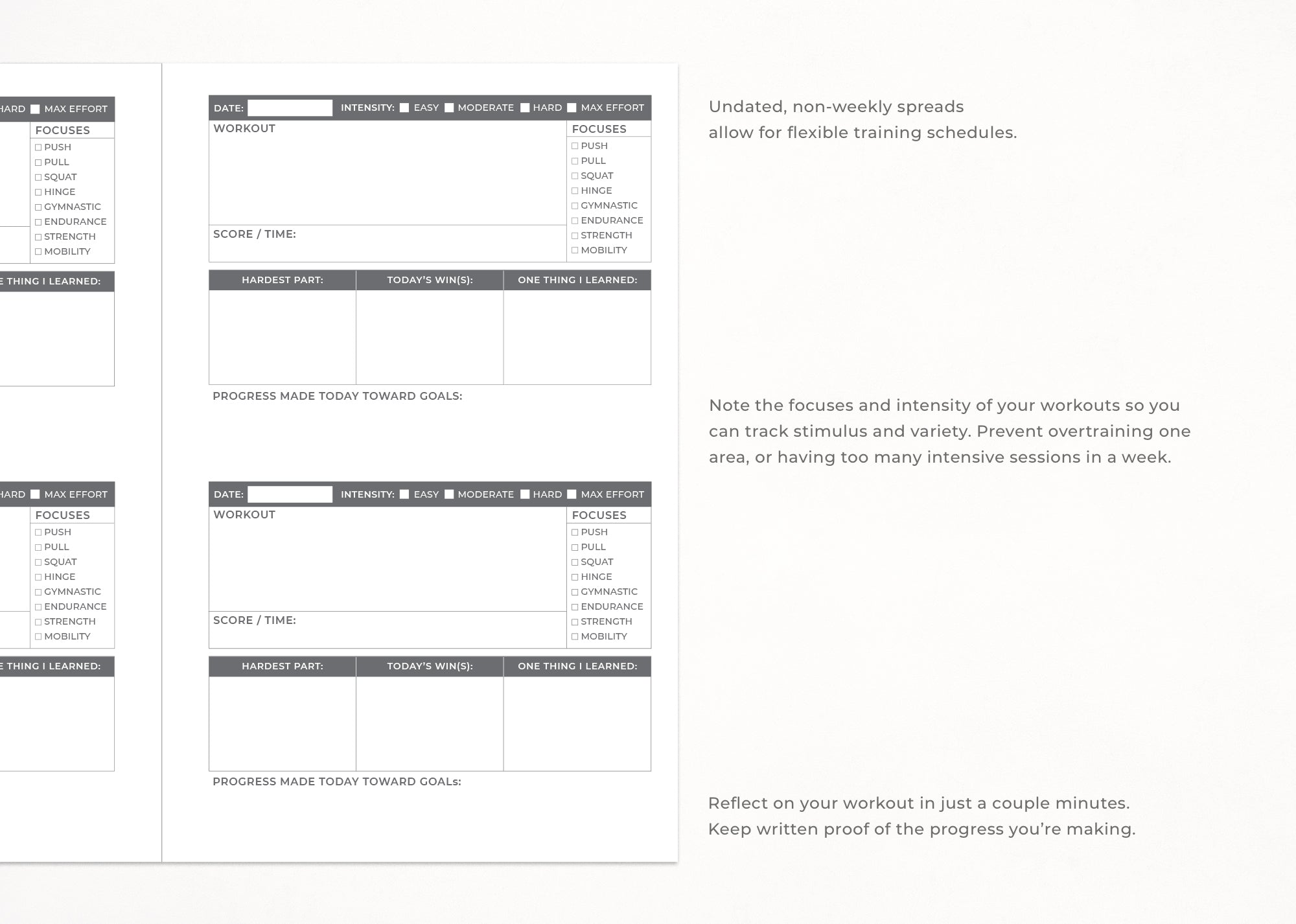 Printable WOD Workout Journal