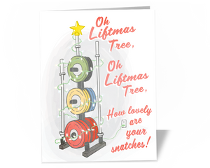 Oh Liftmas Tree Card for Weightlifting Christmas