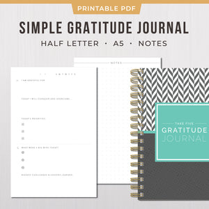 Printable Take Five Minutes Gratitude Journal