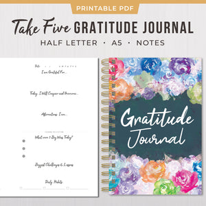 Take Five Daily Gratitude Journal - Printable PDF