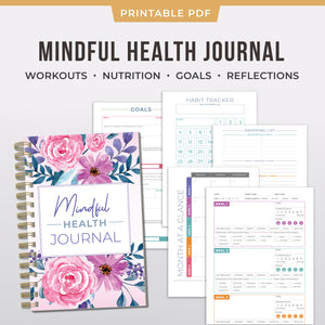 Mindful Health Journal - Printable Fitness Planner PDF