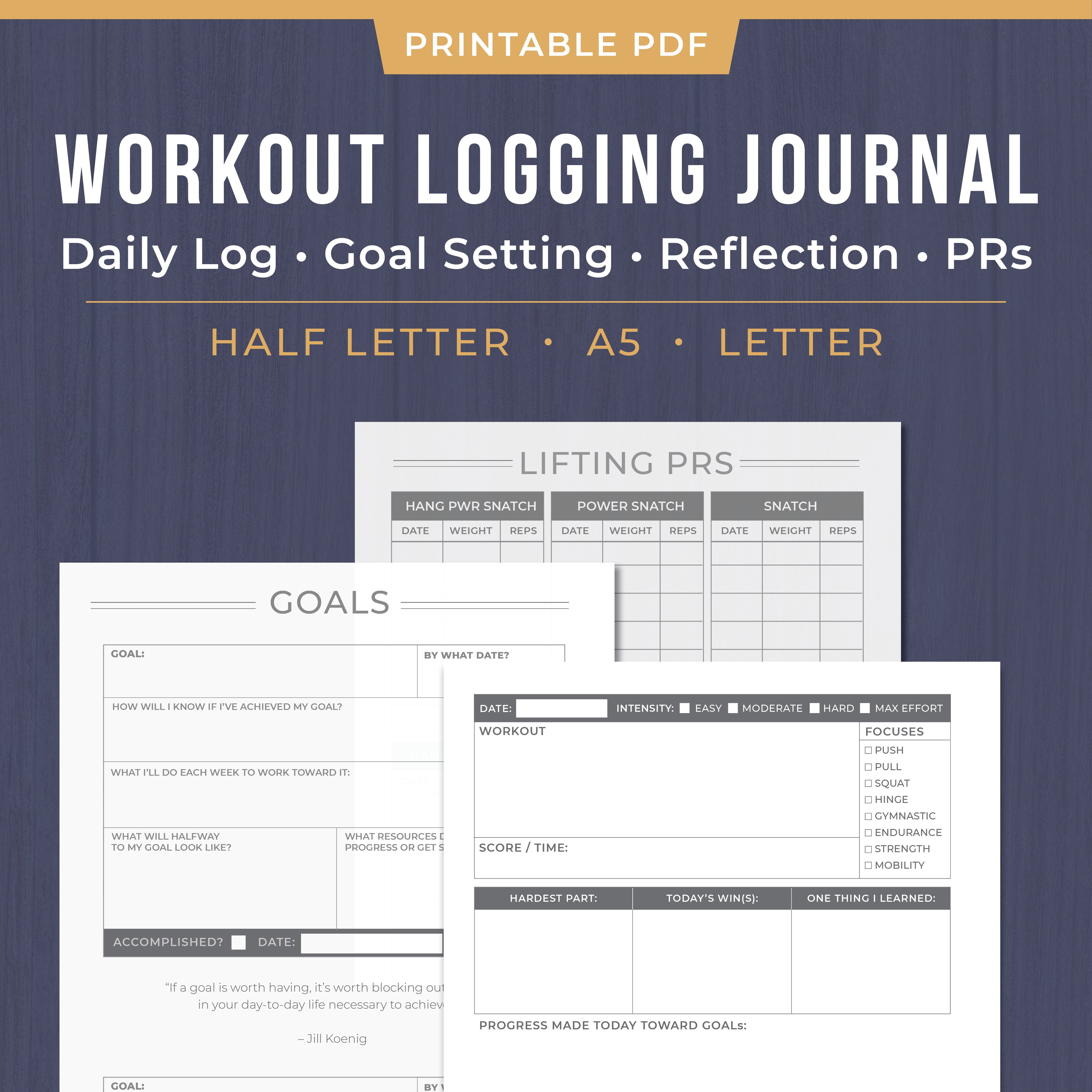 Printable CrossFit Workout Logging Journal