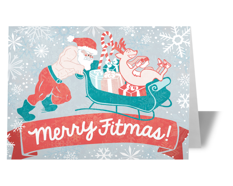 Crossfit Christmas Card - Merry Fitmas Santa Sled Push