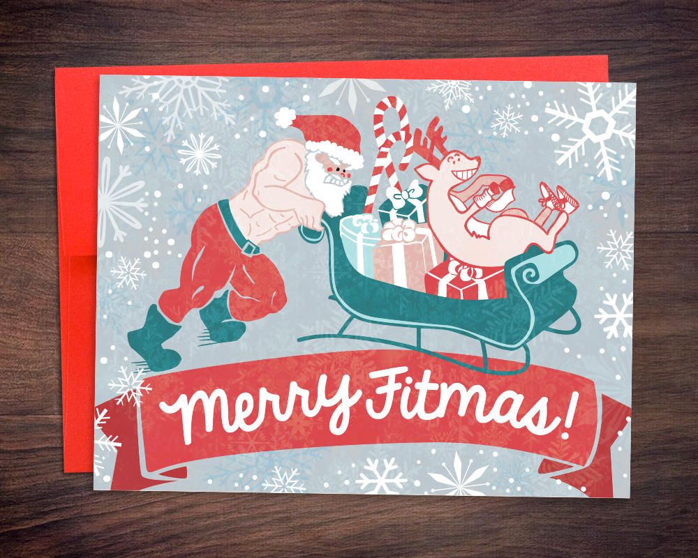 CrossFit Fitness Trainer Christmas Card - Merry Fitmas Santa Sled Push