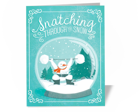 Weightlifting Crossfit Christmas Card Snatching Snowman Weightlifting Holiday Card - Main Photo