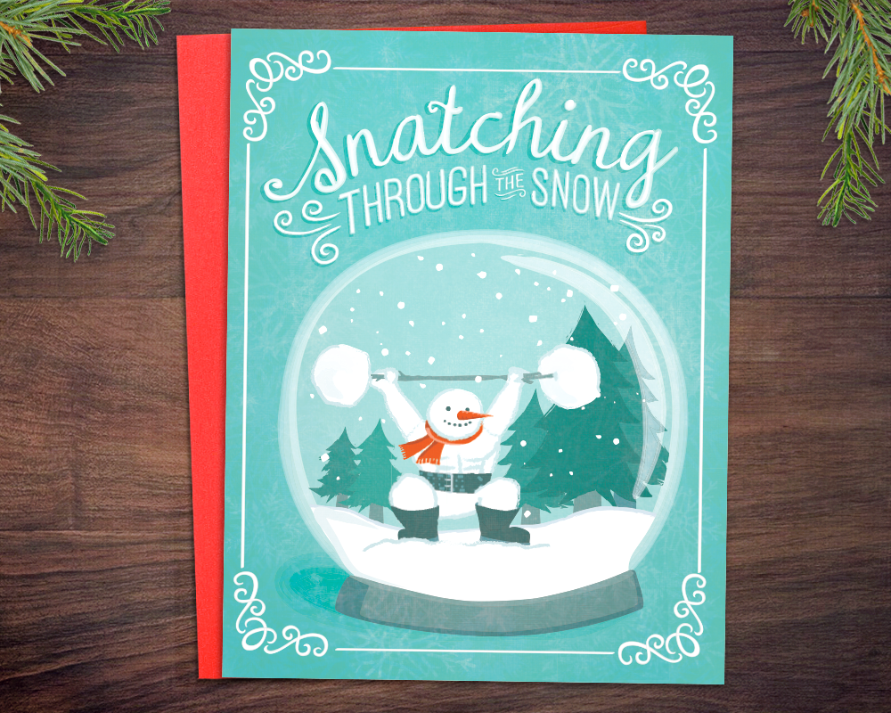 Weightlifting CrossFit Christmas Card - Snatching Snowman Greeting Card