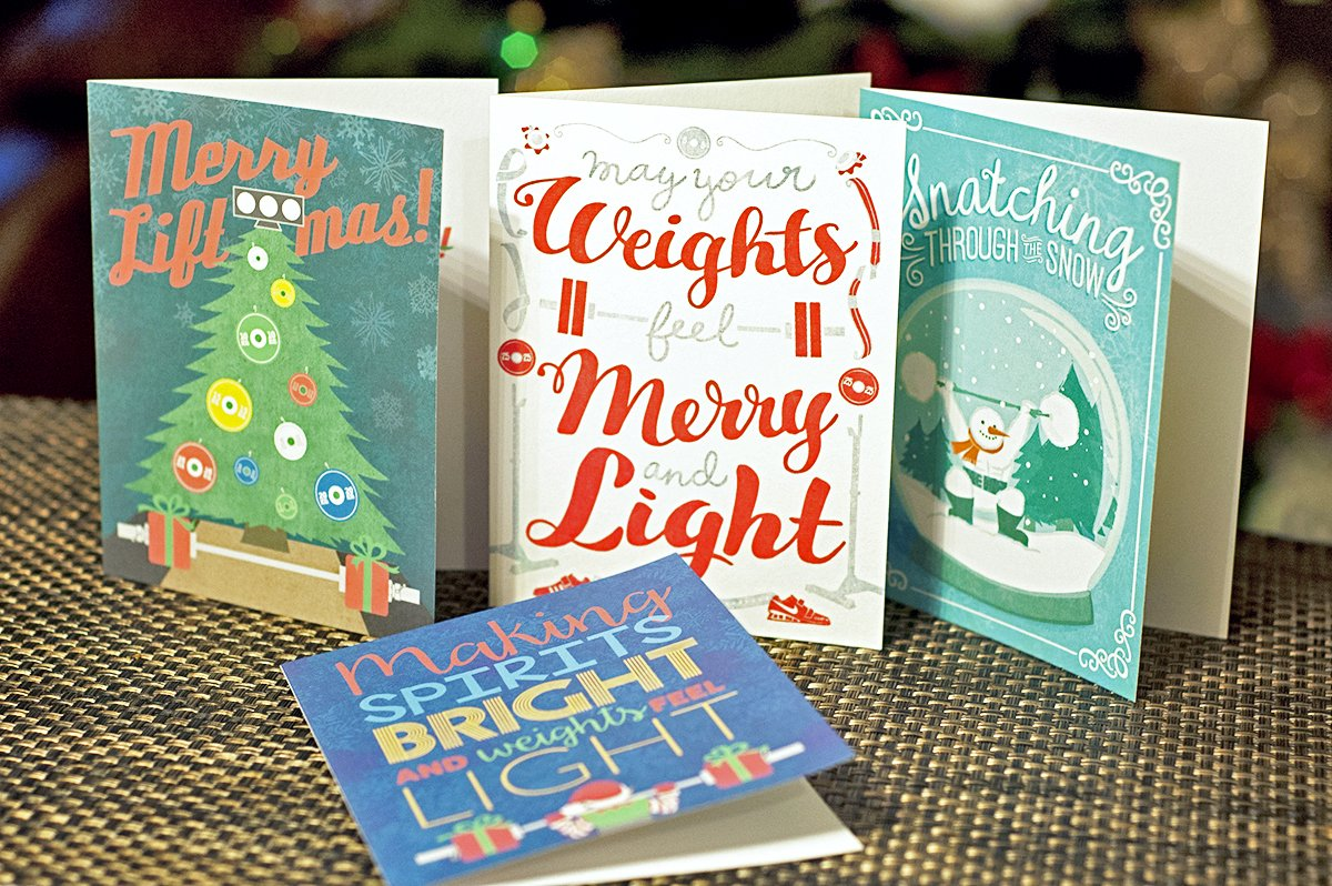 Weightlifters Christmas Card - Merry and Light Weightlifting Holiday Card