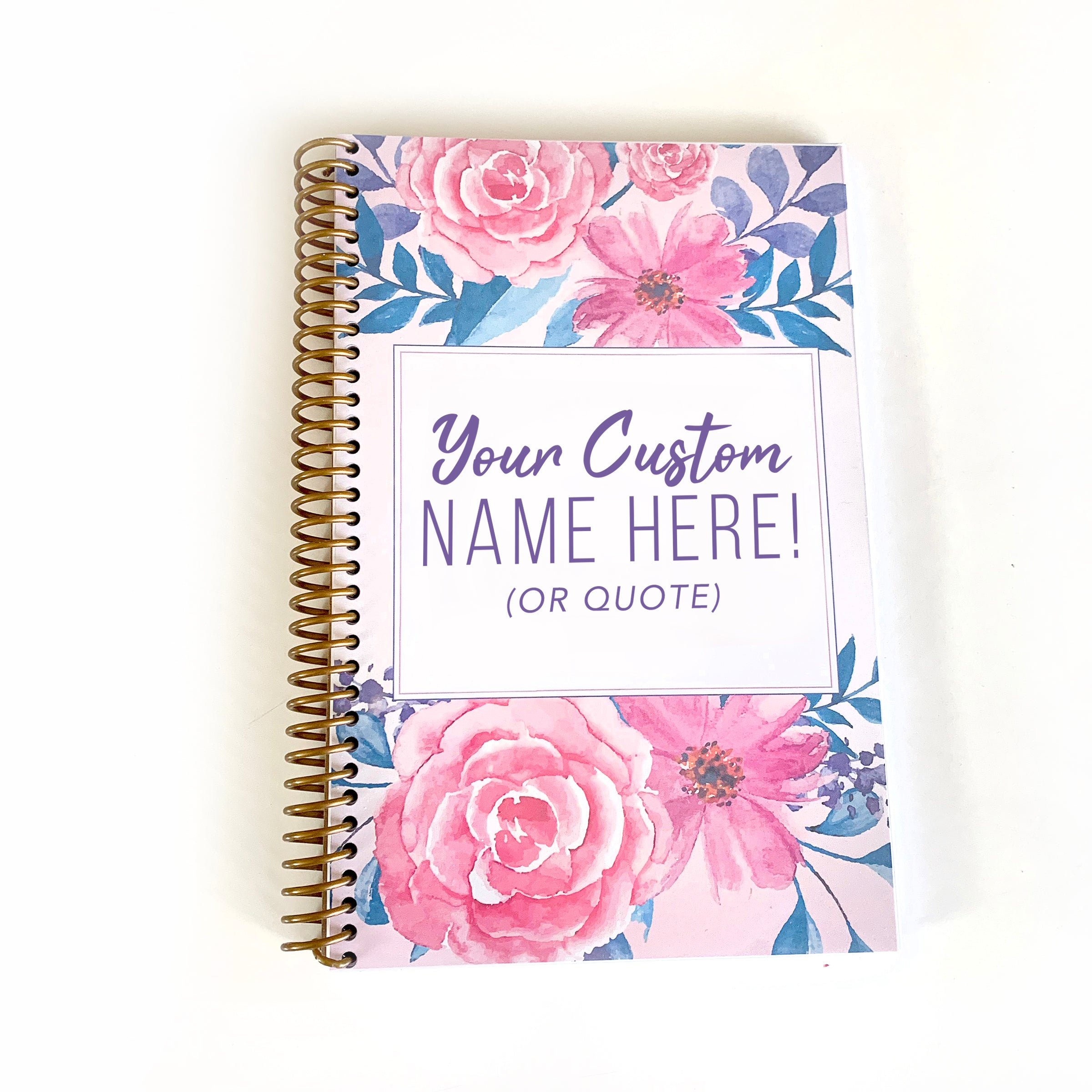 Custom Gratitude Journal Gold Spiral Floral