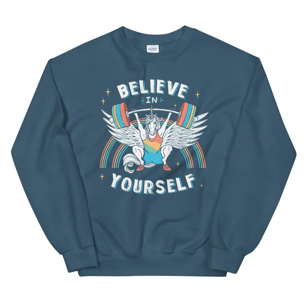 Unicorn Snatching Long Sleeve Hoodie Weightlifting - Indigo Crew