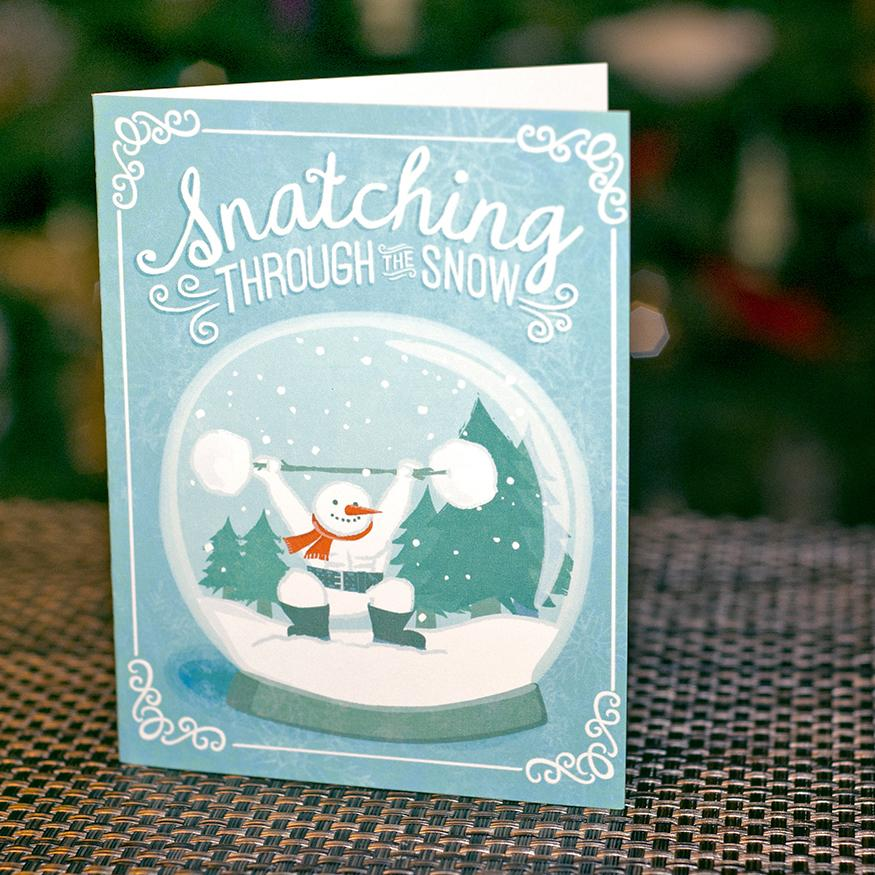 Weightlifting CrossFit Christmas Card - Art of Barbell - Snatching Snowman Greeting Card @artofbarbell_