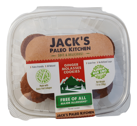 Jack's Paleo Kitchen - Soft Baked Cookies - Ginger Molasses - 12/pk