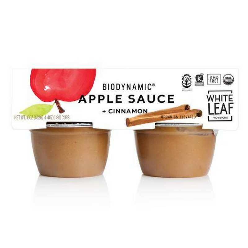White Leaf Provisions - Organic Biodynamic Cinnamon Apple Sauce - 4/pk