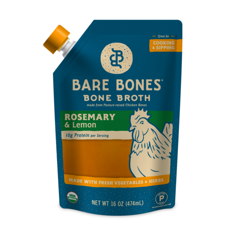 Bare Bones - Bone Broth - Chicken Rosemary & Lemon - 16 oz