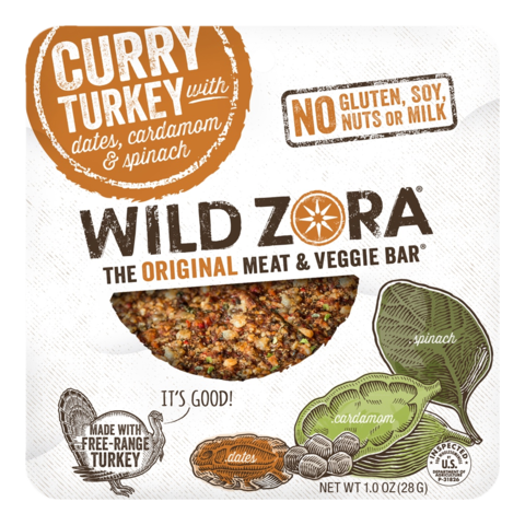 Wild Zora - Meat & Veggie Bars - Curry Turkey