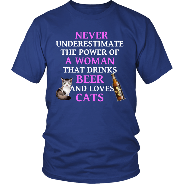 Never Underestimate A Woman Who Drinks Beer & Loves Cats