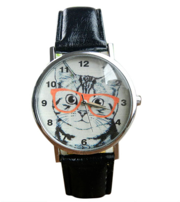 Excellent Quality Top Brand Cute Cat Pattern Watches Womens/ Girl