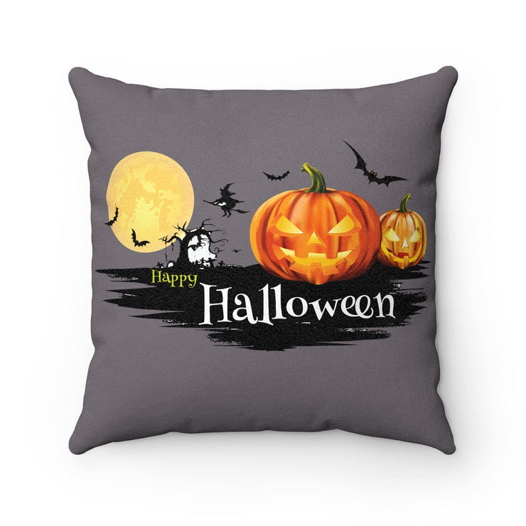 Halloween Pumpkin Haunted House Square Pillow - 4 Different Sizes - Let's Print Big