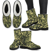 Camo Green Faux Fur Lined Womens Boots