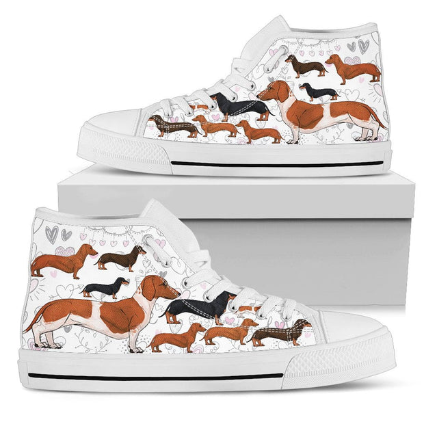 White high tops with dachsunds