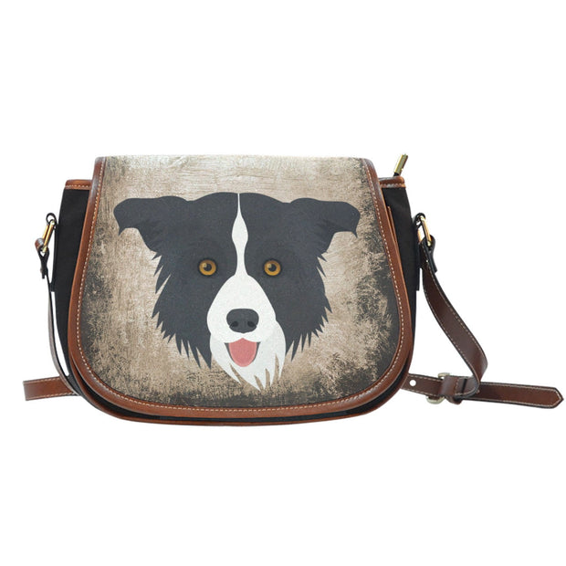 Border Collie Leather Trim Cross Body Bag