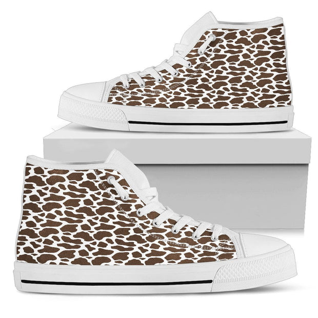 Brown Cow Print Mens High Tops