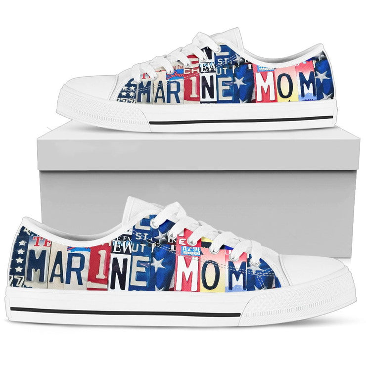 Proud Marine Mom Low Top Womens Tennis Shoes