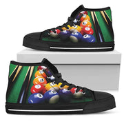 White Billiards Pool Tennis Shoes Men's High Top All Over Print