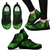 Green Abstract Design Womens Sneakers White or Black