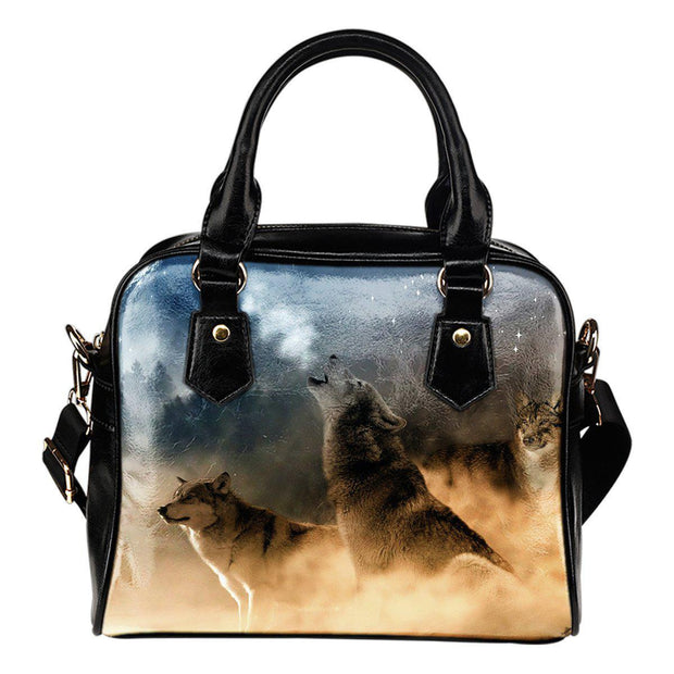 Wolves Shoulder Handbag