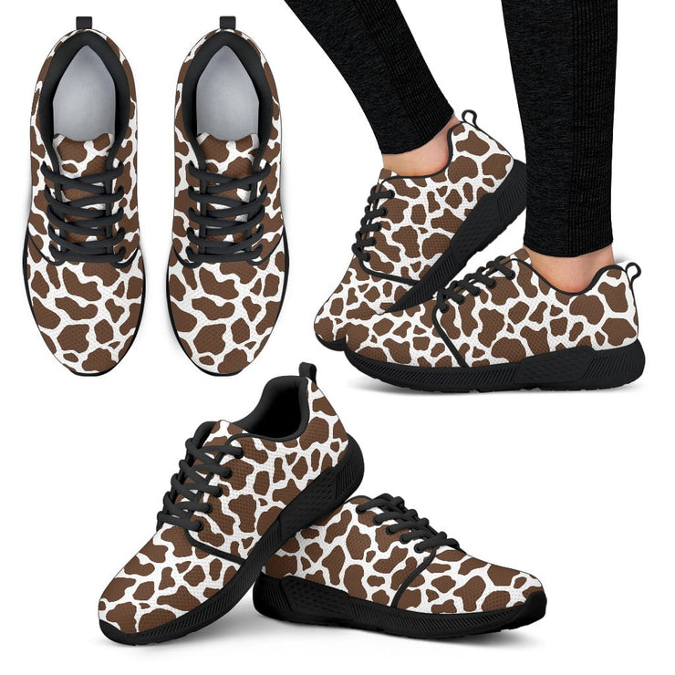 Cow Print Womens Athletic Sneakers Black