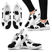 Holstein Cow Pattern Print Womens Sneakers White or Black