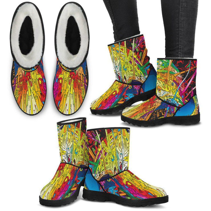 Womens Sugar Skull Faux Fur Lined Boots
