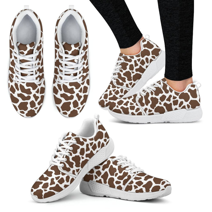 Cow Print Womens Athletic Sneakers White