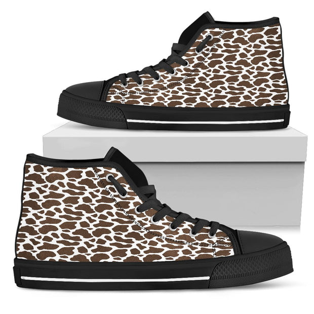 Brown Cow Print Mens High Top Shoes