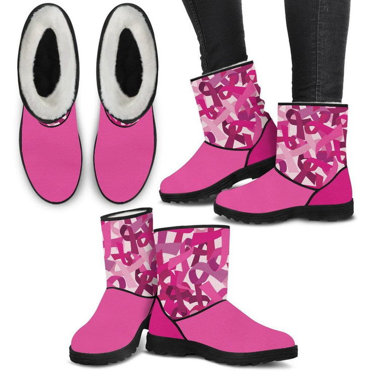 Breast Cancer Faux Fur Boots