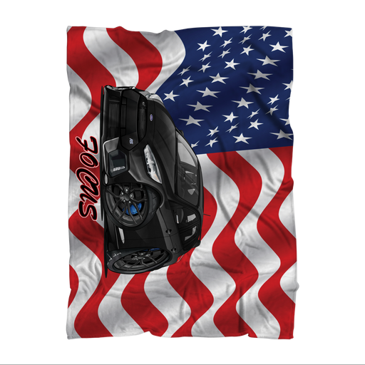 American Flag Ford Focus RS Premium Sublimation Adult Blanket