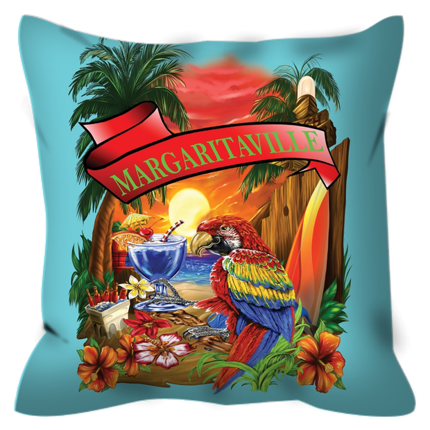 Baby Blue Margaritaville Parrot Outdoor Pillows