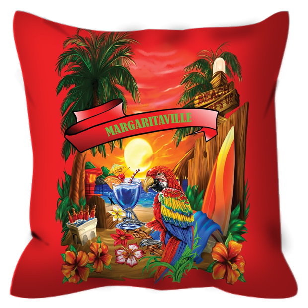 Red Margaritaville Parrot Outdoor Pillows