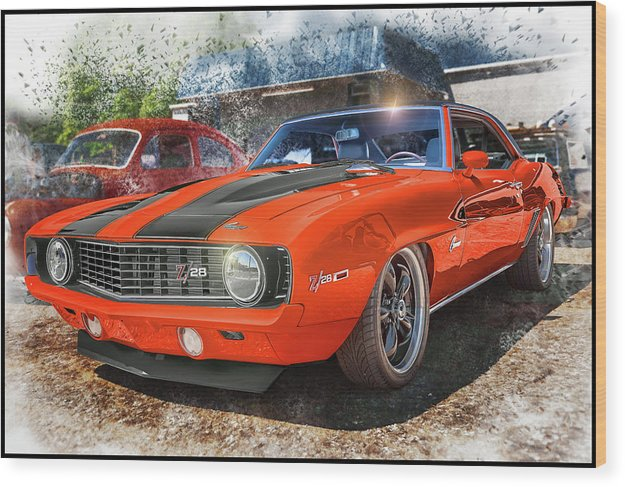 1969 Chevrolet Camaro Z28 Muscle Car Art - Wood Print
