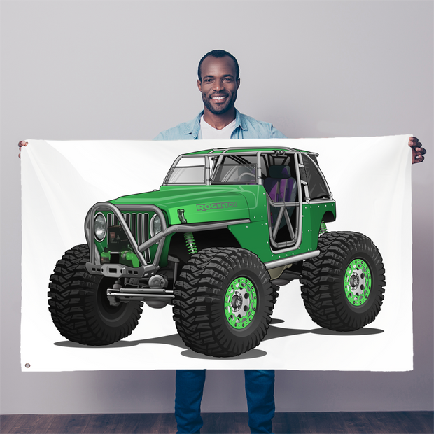 Jeep 4x4 Rocktoy Rock Climber Car Art Sublimation Flag