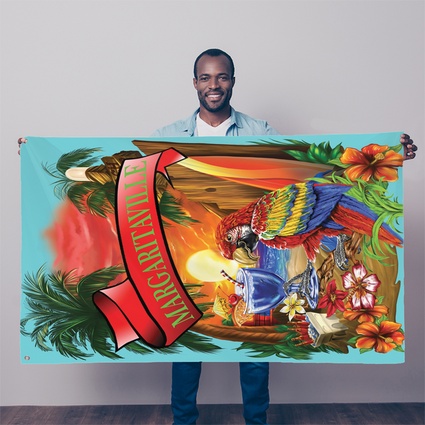 Margaritaville Decor Baby Blue Parrot Sublimation Flag
