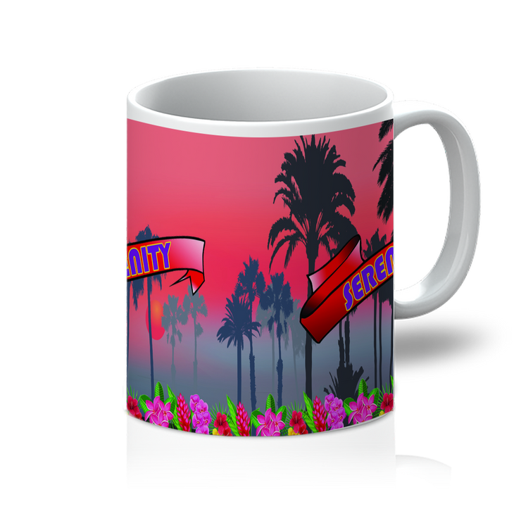 Serenity Beach Banner Design 11oz Mug