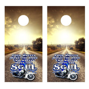 Two Wheels Move the Soul Highway Cornhole Board Decal Set - 2 Decals - Let's Print Big