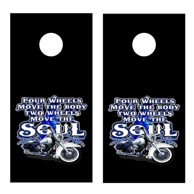 Two Wheels Move the Soul Black Cornhole Board Decal Set - 2 Decals - Let's Print Big